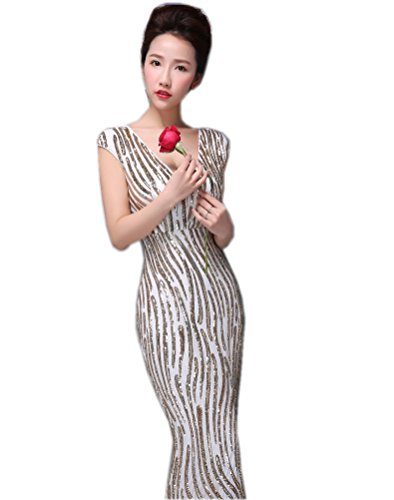 Miranda's Bridal Women's Cap Sleeve V Neck Sequins Stripes Mermaid Evening Dress Gold - Bridal Cap Sleeves