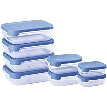 Juypal - Set de 8 tapers rectangulares, sistema abrefácil, 6.30 L en total, color azul
