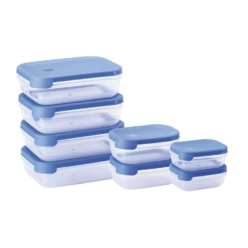 Juypal - Set de 8 tapers rectangulares, sistema abrefácil, 6.30 L en total, color azul