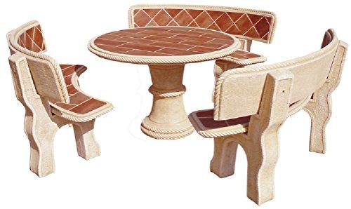AnaParra Reihe von Tisch in Stein rund mit Rückenlehne Fliesen 120cm Mod. Tanne