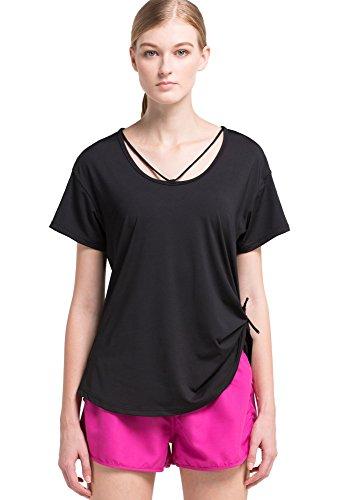 Cody Lundin® Femmes T-shirts larges manches courtes confortables, T-shirt de Sport Fitness Formation Jogging Yoga Danse Sport et Loisirs (M, Noir)