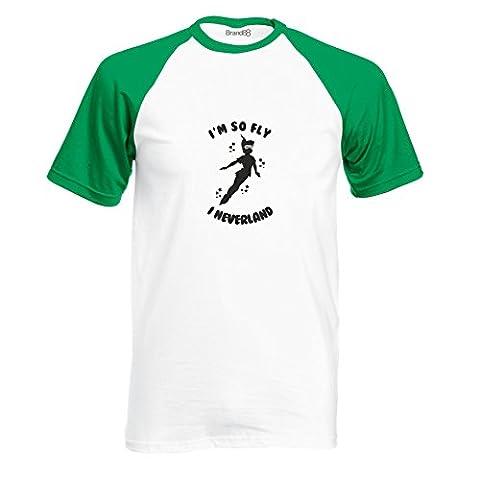 I'm so Fly I Neverland, Short Sleeve Baseball Tee - White & Kelly Green/Black L (41-43