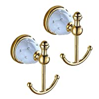 ADhook 2 Pack Coat Hanger Wall Hook Wall Mounted, Chrome Finished 304 Stainless Steel Towel Holder Door Hook,Brass