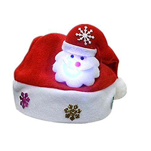 Erwachsene LED Weihnachtshut Weihnachtsmann Ren Schneemann Weihnachtsgeschenk Kappe YunYoud Leuchtende Weihnachtsmütze für Erwachsene ()