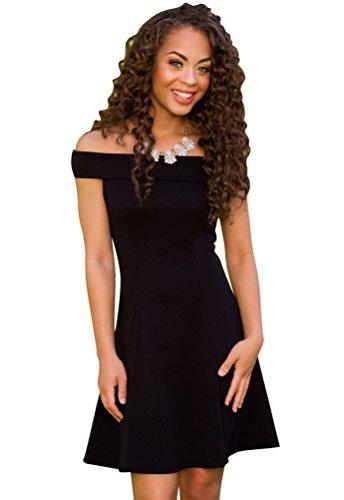 YouPue Damen Von Der Schulter Bandage Kleid Schulterfreies Skaterkleid Ballkleid Cocktailkleid Partykleid Elegant Schwarz XL