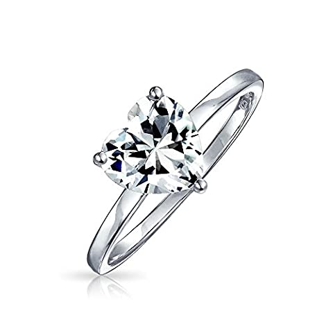 Sterling Silver Heart Shaped CZ Solitaire Engagement Ring