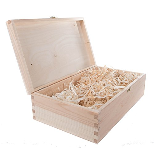 (Uni Holz Wein Box Halter Fall mit Scharnieren Pre gefüllt mit Holz Wolle handcrafted- 1/2/3Flasche Leerzeichen erhältlich Mittelmeer, holz, natur, 2 Bottles)