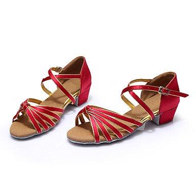Scarpe da ballo-Personalizzabile-Da donna-Balli latino-americani / Sneakers da danza moderna-Quadrato-Raso-Rosso / Altro Black/Red
