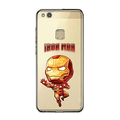 SLIDE Cover per Huawei P10 Lite in TPU Gel Trasparente Custodia Protettiva Marvel DC Collection, Iron Man Baby
