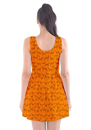 CowCow Damen Kleid Schwarz Schwarz Orange