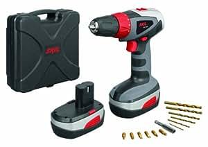 Skil 1003 PP Perceuse sans fil batterie 18 V Ni-Cd, 36 Nm et double sens de transmission + 12 forets en titane, 2 batteries et 1 coffre de rangement