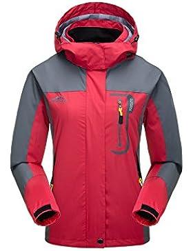kischers Womens impermeable chaqueta con capucha ligero, resistente al viento chubasquero, rojo, X-Large