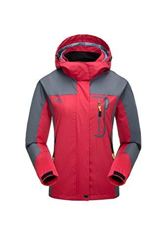 KISCHERS Damen Regenjacke Atmungsaktiv Jacke Wasserdichte Outdoorjacke Wandern Reise Winddicht Softshelljacke mit Kapuze (Rot, XL)
