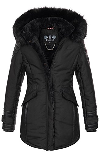 Marikoo Damen Winter Jacke Designer Parka Mantel Kunstfell Winterjacke B609 [B609-Zauber-Schwarz-Gr.XL]