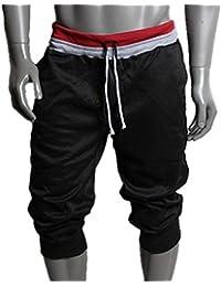 Sannysis Hombre de algodón Pantalones cortos Gimnasio Sport Jogging Pantalones (Negro, XL)