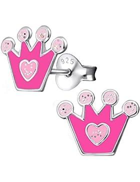 So Chic Schmuck - Ohrringe Krone Prinzessin Herz Pink Sterling Silber 925