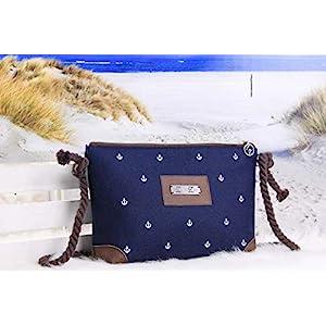 Allround Tasche Anker Weiß/Nachtblau/Braun, Reißversschlusstasche klein Ledertasche Anker Weiß Blau Braun Ankertasche…
