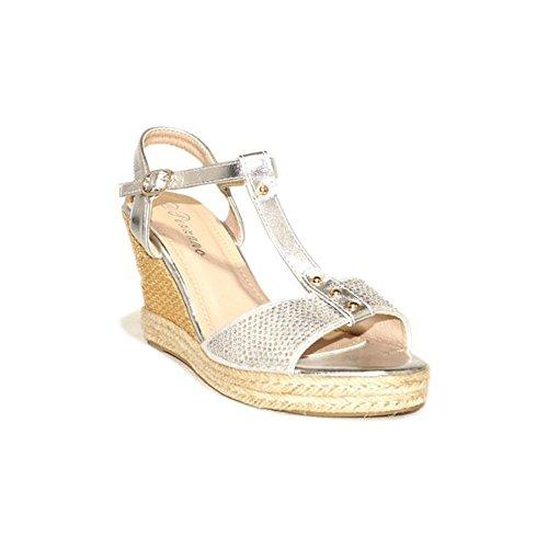 PEZZANO PEZZANO CUÑA Paja THX13 Sandalias Cuña Mujer Plata Plateados Moda Verano 2018 Casual