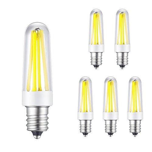 Rye Tech E14LED bombilla LED bombilla regulable 4W 360–400lm, AC 220V–240V Base 4x filamento COB lámpara de araña LED 6000K Color blanco (Pack de 5)