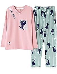 Mmllse Pyjama en Coton Femme S Habiller Dormir Bande Dessinée Chat Imprimé  De Vêtements De Nuit Homewear Chemise De Nuit… 298b2f9d88d