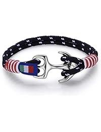 Italienisches Herren Armband in rot und schwarz. Marine Thema, mit Seil und Anker. Luca Barra DBA886. Wasser Sport, Mode, Stil, Schmuck Geschenk