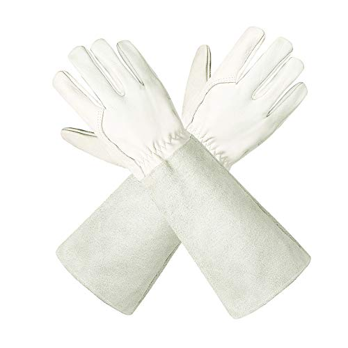 Gartenhandschuhe aus Leder für Damen und Herren - Isilila atmungsaktive Rosen-Handschuhe mit Dornschutzhandschuh, Lange Rindslederärmel, Gartenarbeitshandschuhe für Gärtner und Bauern, weiß