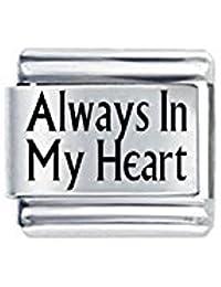 """Daisycharm by JSC Abalorio Estilo Italiano, con Texto Grabado """"Always in my Heart""""–Compatible con Pulsera Nomination Clásica –Exclusivo de Amazon"""