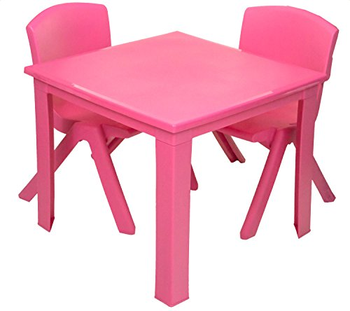 e2e Kids Children Plastic Home Garden Folding Foldable Table & Stackable Chair Set (Pink Table & 2 Chairs Set)