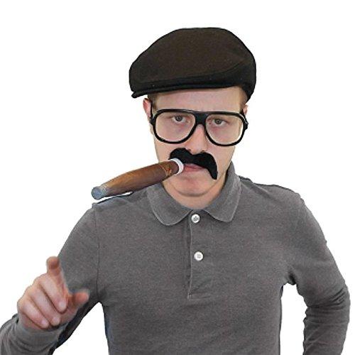 ILOVEFANCYDRESS 70S Kluger Mann-Guy KOSTÜM-SCHWARZES Franzosen Barret und Eine Riesen Plastik Zigarre und Ein GROSSES BRILLENGESTELL Ohne GLÄSER (Kostüme Schwarz Guy)