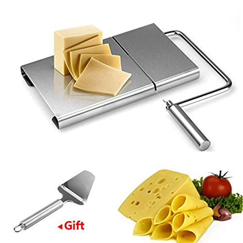 CWeep Cheese Slicer Board,Wire Stainless Steel Cutter with Accurate Size Scale Kitchen Cook Serve Baking Tools Making Dessert (2pcs/Set) Steel Line-dessert