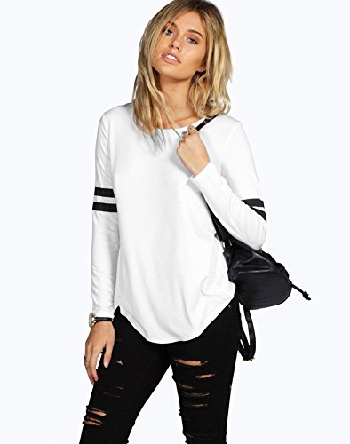 Femmes Rayures T Shirt Automne Manches Longues Simple Basique Chemise Casual Pull Tops Blouse Shirts Carreaux C- Blanc