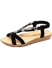 Sandalias de verano para mujer Peep-toe Zapatos bajos Sandalias romanas Chanclas de damas Plano Talla grande Bohemia Dulce Con cuentas Sandalias casuales Zapatos de playa LMMVP