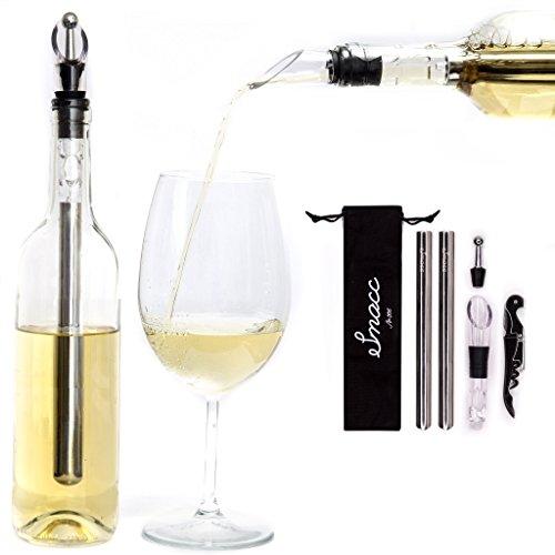 Smacc Refroidisseur de vin, ensemble de refroidisseur de vin en acier inoxydable avec décanteur + tire-bouchon + bouchon de bouteille + aérateur + bâton de refroidissement supplémentaire GRATUIT