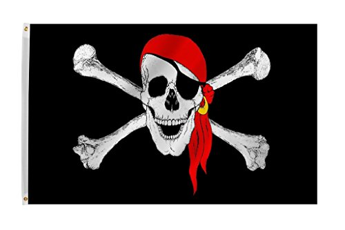 Zeit Roaming Bandana Jolly Roger Pirat rot 3 X 5 ft Polyester Flagge mit Messing Tüllen