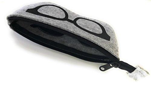 Gütersloher Shopkeeper Premium Tasche Etui Soft Case mit Reissverschluss Geeignet für Brillen Sonnenbrille Oder Handy Apple iPhone 7 - Hülle aus Filz Grau-Schwarz
