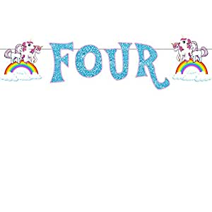 Party Propz Unicorn Age Banner Four For Unicorn Birthday