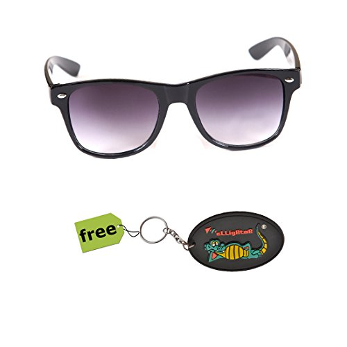 Elligator Trendy Black Wayfarer Sunglass With Stylish Rubber Key Chain Combo (Set Of 2)  available at amazon for Rs.179