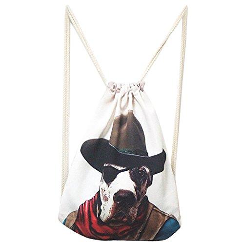 Imagen de panegy nueva  de saco gym sack bolsa de gimnasia con cuerdas vintage estampado moda casual harajuku estilo para mujer chica  perro vaquero