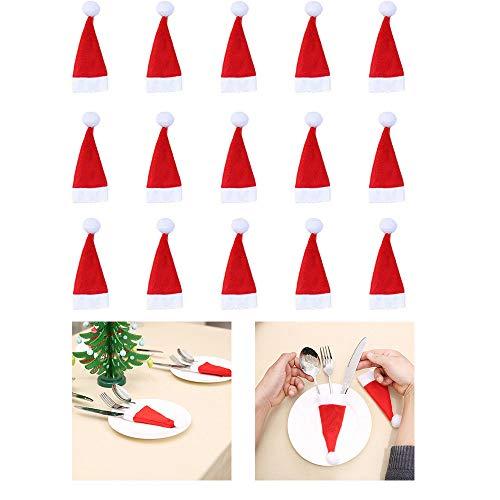 BESSKY 15pcs Christmas Decorative Tableware Fork Set Christmas Hat Storage Tool Weihnachtsmütze und Messerset 15tlg