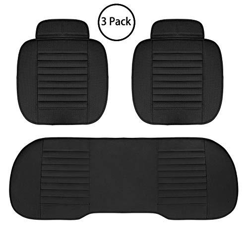 Cubierta de asiento de coche - Cojín de cojín de asiento de cojín de asiento de cojín de asiento de carbono de bambú de poliuretano para silla de coche (Negro, 2 PCS Asiento delantero+Asiento trasero)