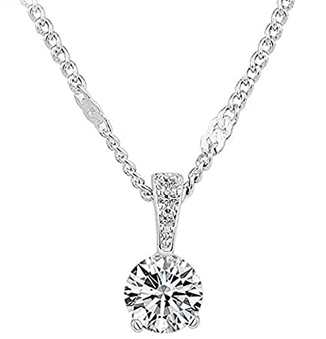 Beydodo White Gold Plating Necklace for Women(Pendant Necklace),Classic Round-Cut White Circle