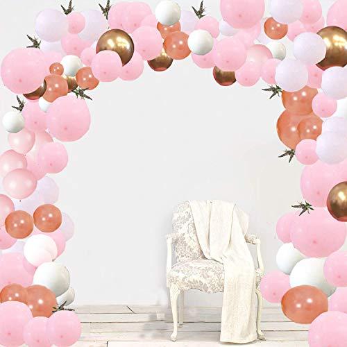 ekor Rose Gold Happy Birthday Ballons, 100 Stück Pale Pink Weiß Gold Metallic Ballons, Party Supplies Ballons für Hochzeit und Geburtstag, Weihnachten, Brautgeschenke, Babypartys ()