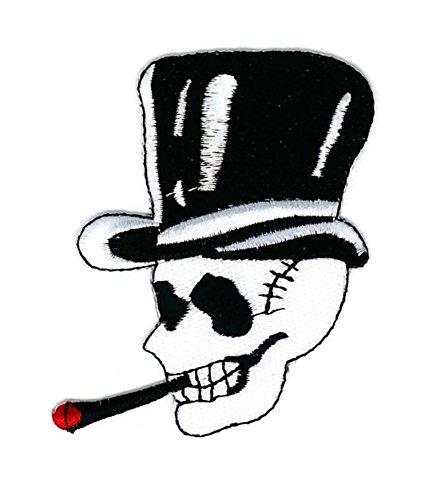Weiß Smoking Skull Halloween Cartoon bestickt Nähen Eisen auf Patch Cartoon Nähen Eisen auf bestickte Applikation Craft handgefertigt Baby Kid Girl Frauen Tücher DIY Kostüm Zubehör