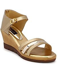 Rimezs Golden Buckle Closure Casual And Party Wear Wedges Sandal For Women And Girls
