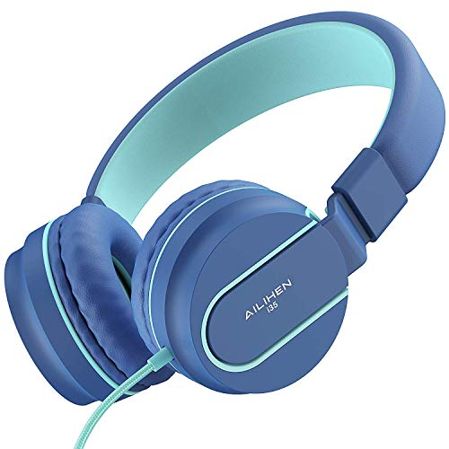 AILIHEN Kinder Kopfhörer mit Kabel Mikrofon Lautstärke Kontroller Faltbarer Leicht Kinderkopfhörer 3.5mm Jungen Mädchen On-Ear Headsets für Mobiltelefone Tablets Smartphone (Indigo)