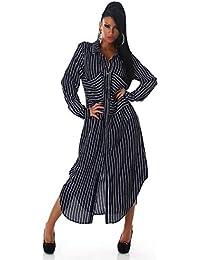 ba82c838c40f Blanco Store - Abito Lungo Donna Camicia A Righe Maxi Camicia Manica Lunga