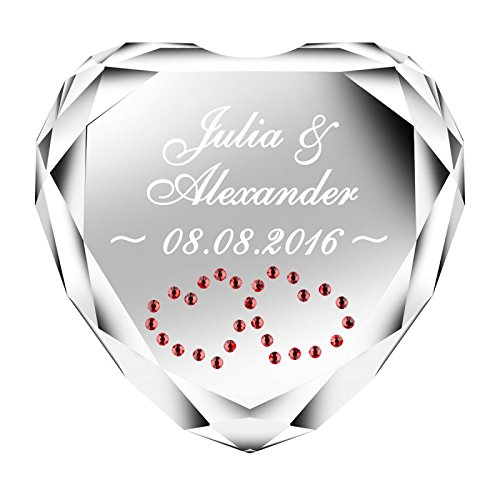 Geschenke 24 Herz Diamant (Weiß) mit Namen und Datum graviert - personalisiertes Liebesgeschenk für sie und ihn - romantischer Diamant aus Kristallglas mit Gravur