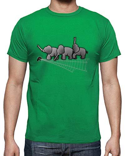 latostadora - Camiseta Elefantes y Araa para Hombre Verde Pradera XL