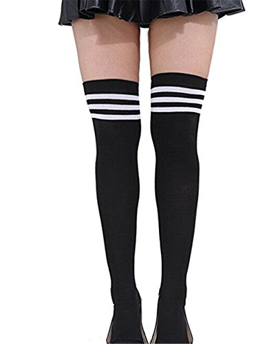 JOMOQ Mädchen Über den Knie Extra Lang Fußball Rugby Socks Strümpfe Sport Tights mit Klassik Dreibettzimmer Stripes Cosplay Socken