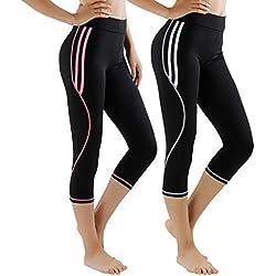 GoVIA Leggins para Damas Pantalones Deportivos Largos para Training Running Yoga Fitness Transpirables con Cintura Alta 4101 Rosa Blanco S/M